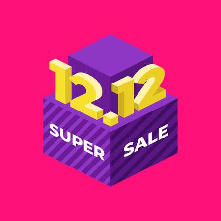 12.12 Super sale flat isometric banner.