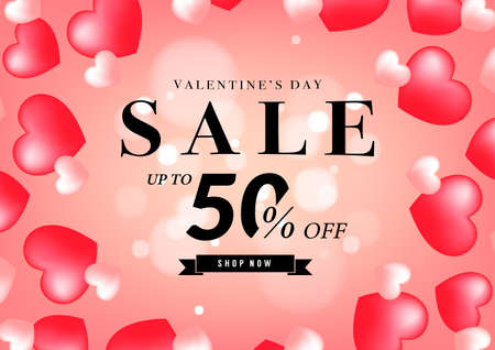 Valentine's day sale banner design template. 50% off discount promotion sale banner.