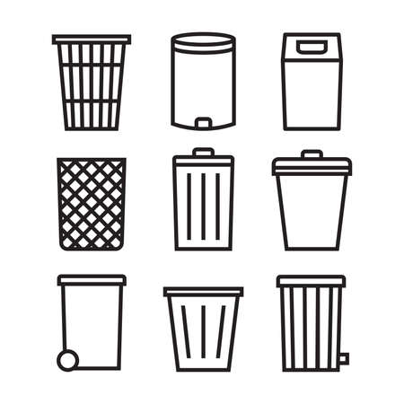 Trash can icon set. Trash can line icons collection for web apps and mobile concept.