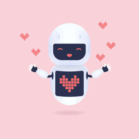 White friendly robot with heart shape symbol on the screen.