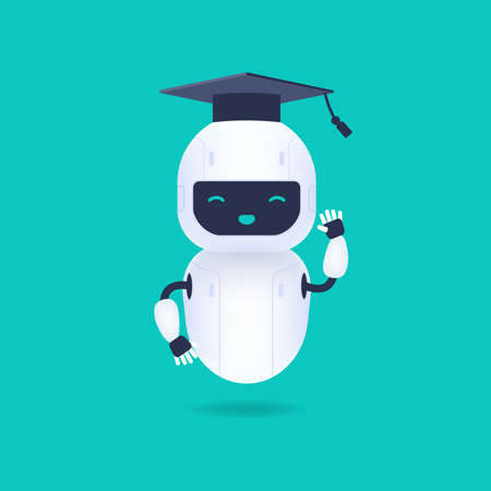 White friendly robot character. Graduated cute and smile AI robot wearing graduation cap. Machine learning concept.