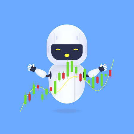 White friendly robot with forex charts. The trading robot monitors the movement of the stock value on the candlestick chart.
