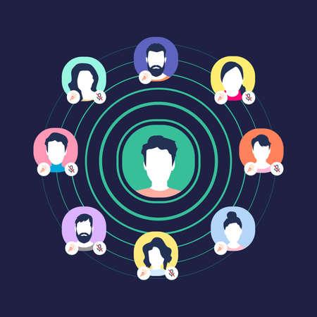 Audio social media chart. Groups of speakers, moderators, and listeners. Vektorgrafik