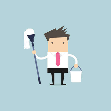 Businessman holding mop and bucket. Cleaning the workplace concept.