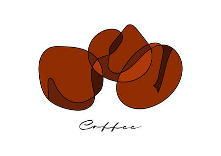 One continuous line drawing whole healthy organic coffee bean. Modern single line draw design graphic vector.