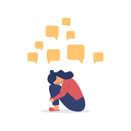 Depressed woman sitting on the floor with message bubbles. Cyber bullying. Unhappy female character receiving pop up messages. Problems in social networks.