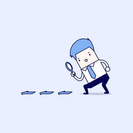 Businessman searching through a magnifying glass. Searching, details, clue concept. Cartoon character thin line style vector.