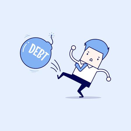 Businessman kicking debt bomb ball away like as soccer ball, success tax business. Cartoon character thin line style vector.