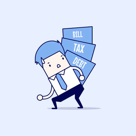Businessman carry pile of debt, tax and bill. Cartoon character thin line style vector.