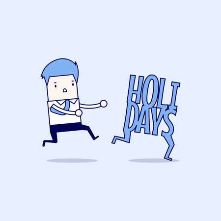 Businessman running catch up holidays. Cartoon character thin line style vector.