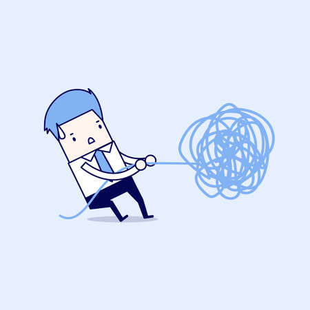 Businessman trying to unravel tangled rope or cable. Cartoon character thin line style vector.