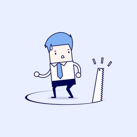 Businessman has ground cut beneath him. Cartoon character thin line style vector.
