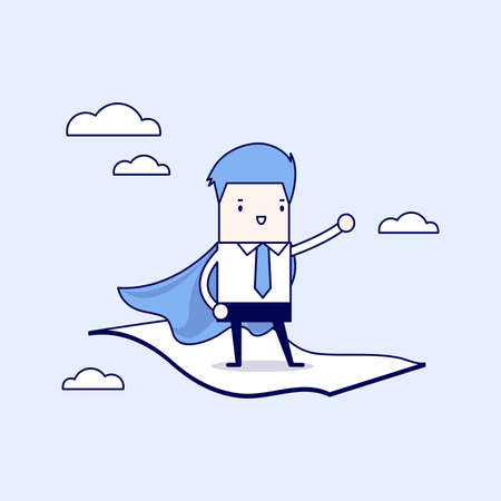 Businessman standing on the flying magic carpet. Cartoon character thin line style vector. Vecteurs