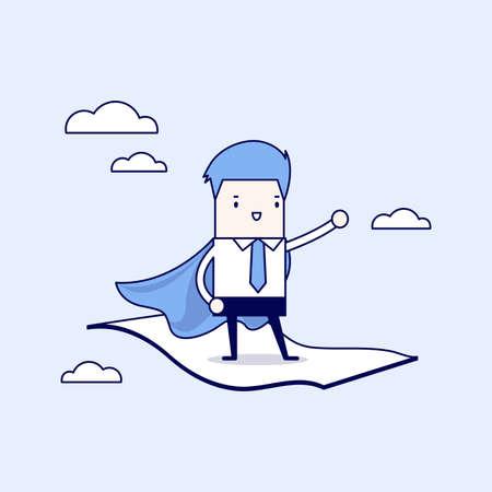 Businessman standing on the flying magic carpet. Cartoon character thin line style vector. Vektoros illusztráció