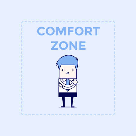 Businessman standing in comfort zone. Cartoon character thin line style vector.
