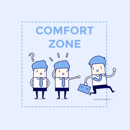 Businessman exit from comfort zone. Cartoon character thin line style vector.