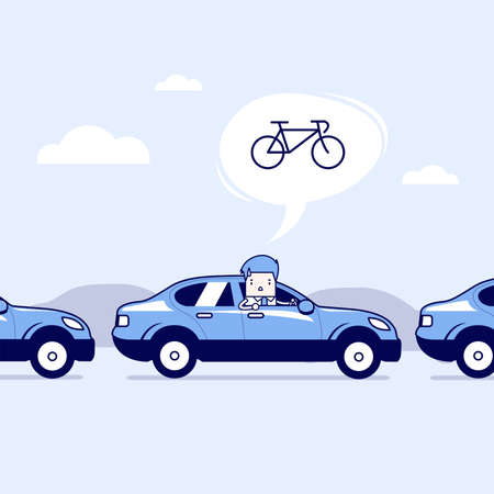 Businessman on the road with traffic jam, Thought to work by bike better. Cartoon character thin line style vector.
