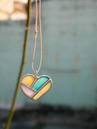 heartshaped: Stained glass of heart-shaped pendant Stock Photo