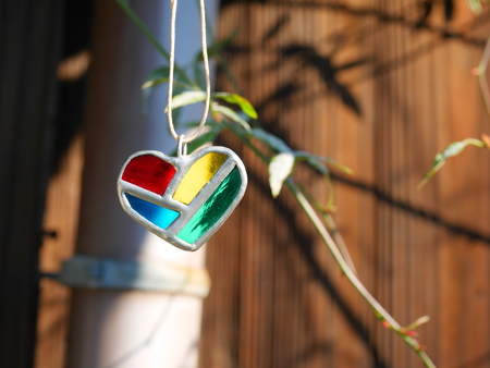pendant: Stained glass of heart-shaped pendant Stock Photo