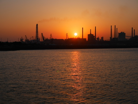 complex: Kashima coastal industrial complex of the sunset