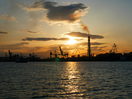 in the zone: Kashima coastal industrial zone sunset