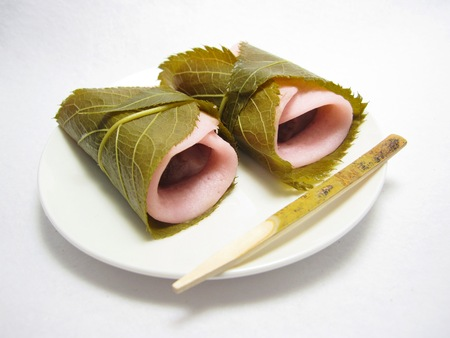 rice   cake: Bean paste rice cake wrapped in a cherry leaf