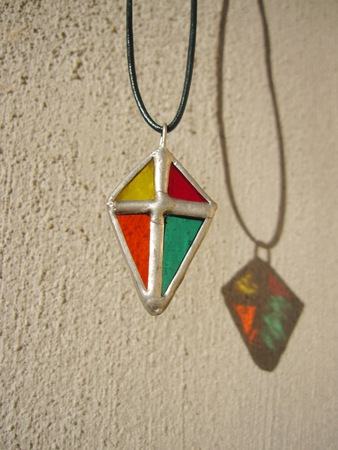 pendant: Stained glass diamond pendant