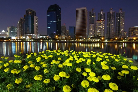 Central business district and marigold flower at night, Bangkok Thailand. photo