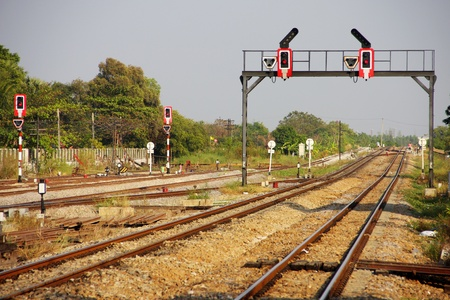 signaling: Light signaling for rail operation on railway junction in Thailand. Stock Photo