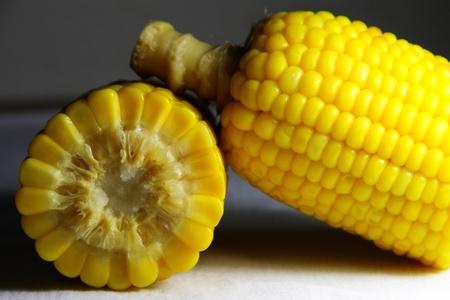 crosscut: close up of yellow corn that crosscut