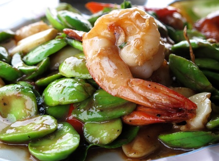 southern thailand: shrimp fried with shrimp paste, local food of southern of Thailand Stock Photo