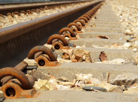 Railway Tracks,  the rails are attached  with bolts on concrete sleeper, Thailand photo