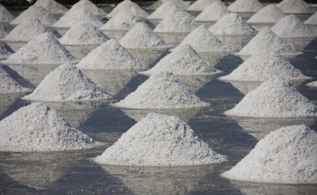 pile of salt in the salt pan,product of Thailand photo