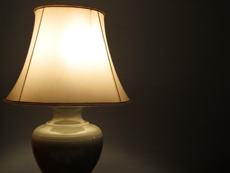 lamp shade: classic lamp in bedroom and lamp shade Stock Photo