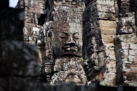 face of Bayon temple in Angkor Thom area, Cambodia photo