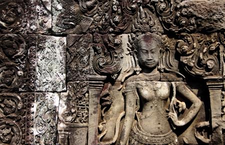 Decorative pattern on Angkor Thom, Cambodia. photo