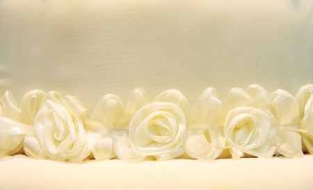 white roses from cloth, decorative in party