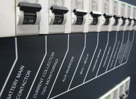 control box: switch on power control box Stock Photo