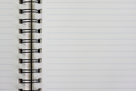 Notebook with line, white page. photo
