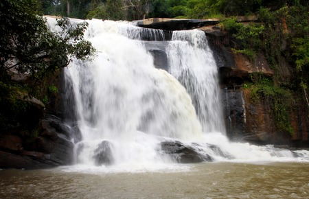 demarcation: Tad Heung Waterfall, located on the Heung River, border of the Thai-Lao demarcation line, Loei province, Thailand