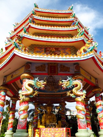 Naja Chinese temple (Najasataisue Chinese Shrine) can be seen as a beautiful attraction presenting Chinese architecture, located at Angsila, Chonburi,Thailand. photo