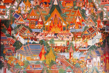 Small town,painting and on the wall in Thai style.