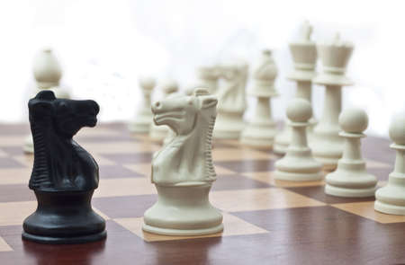 Two Chess Knights Facing Each Other Stock Photo - 10028785