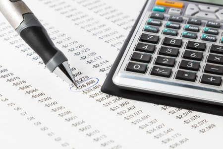 morgage: A pen with a financial calculator Stock Photo