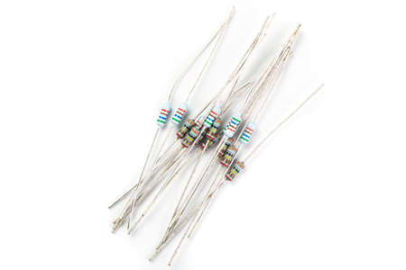 amperage: A bunch of resistors, electronic component, on a white background