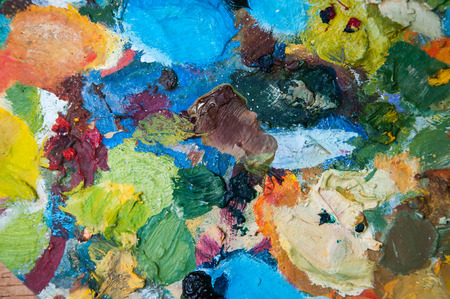 oil paints: Artists oil paints multicolored closeup abstract background Stock Photo