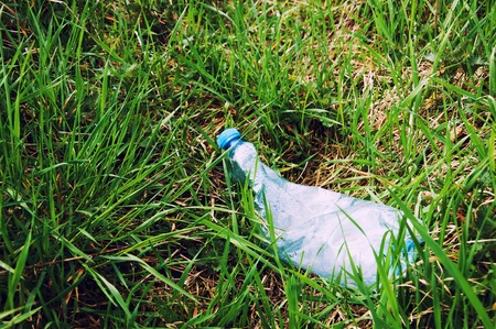 dispose: Crushed plastic bottle of mineral water on grass