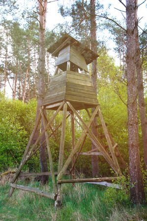 hideout: Box stand at the edge of a forest in spring Stock Photo