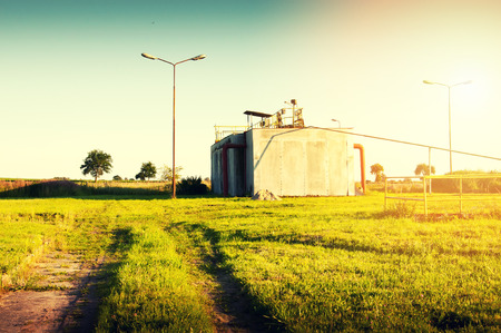 sedimentation: Rural sewage treatment plant Stock Photo