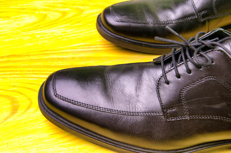 Elegant mens leather shoes on green wood Stock Photo